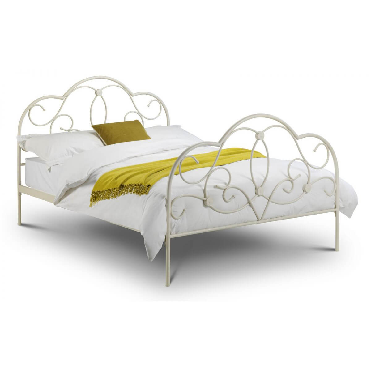 Ava White Metal Bed Frame