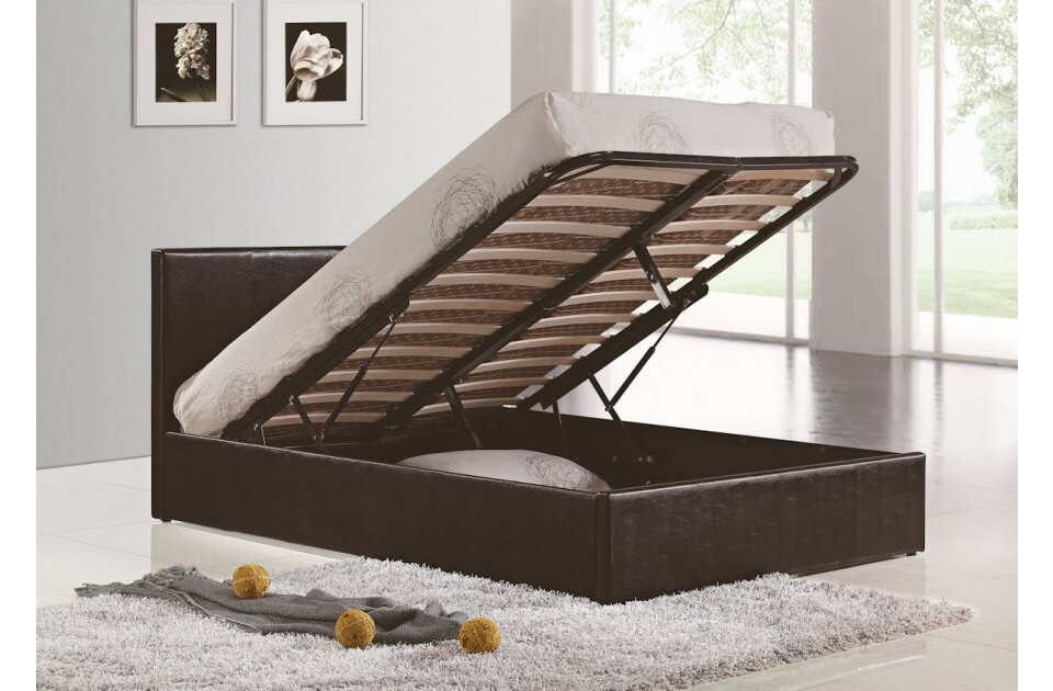 Berlin Ottoman Storage Bed Faux Leather Black 2