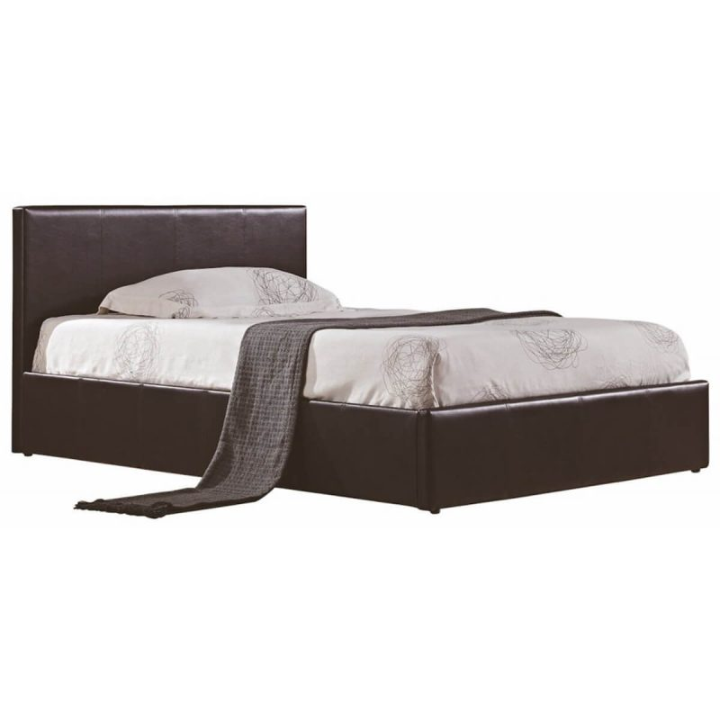 Berlin Ottoman Storage Bed Faux Leather Brown 1