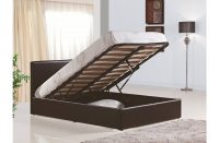 Berlin Ottoman Storage Bed Faux Leather Brown 2