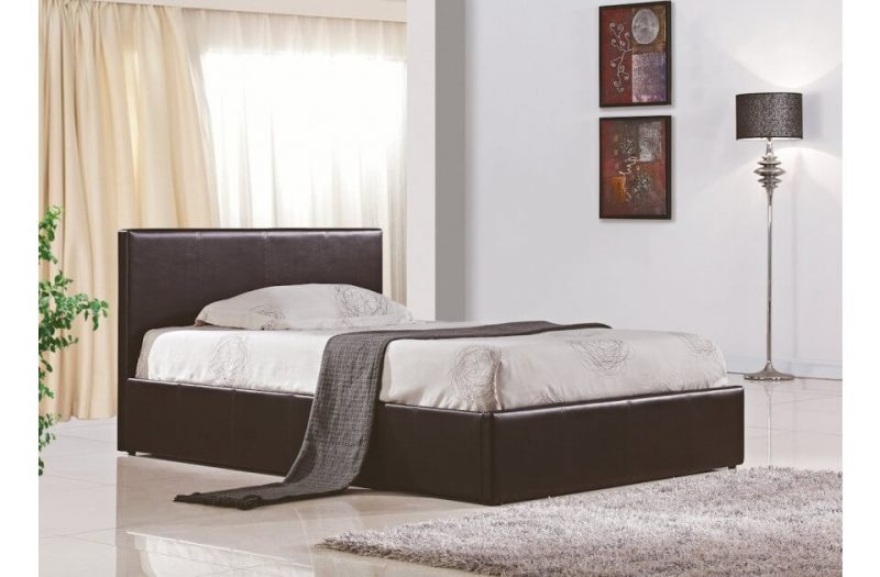 Berlin Ottoman Storage Bed Faux Leather Brown 3