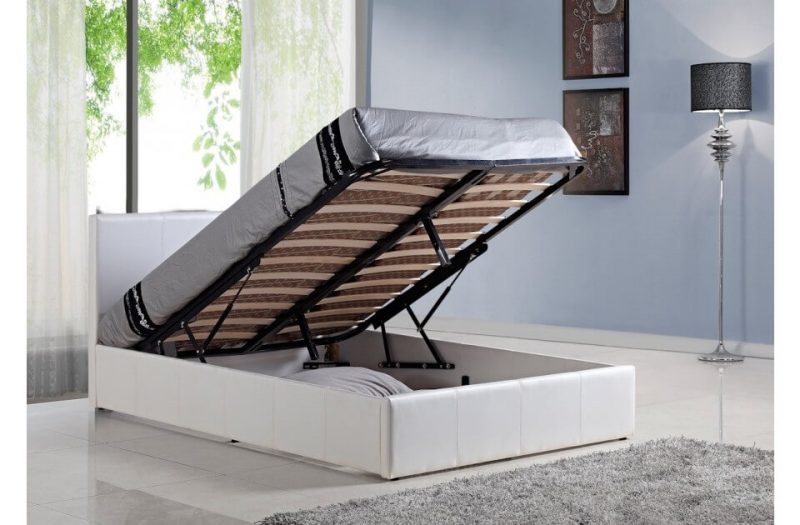Berlin Ottoman Storage Bed Faux Leather White 2