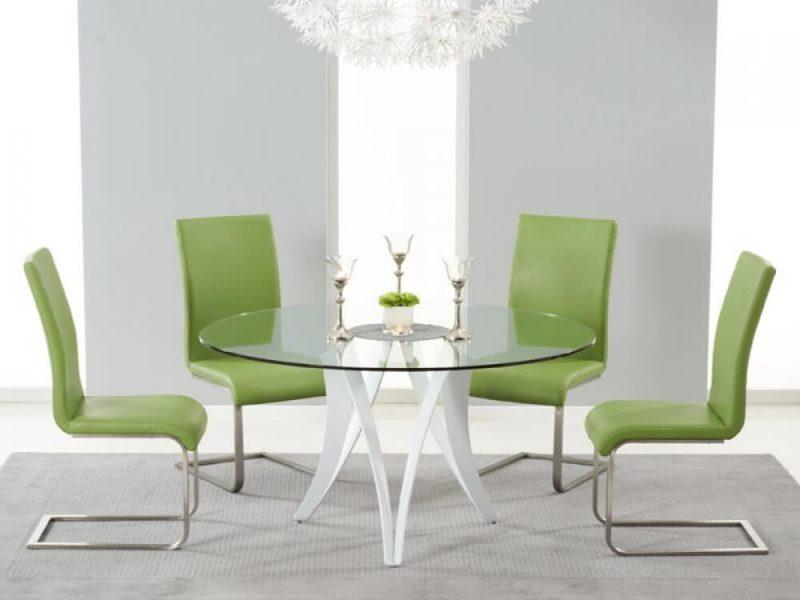 Berlin Round 4 Seater Dining Set Green