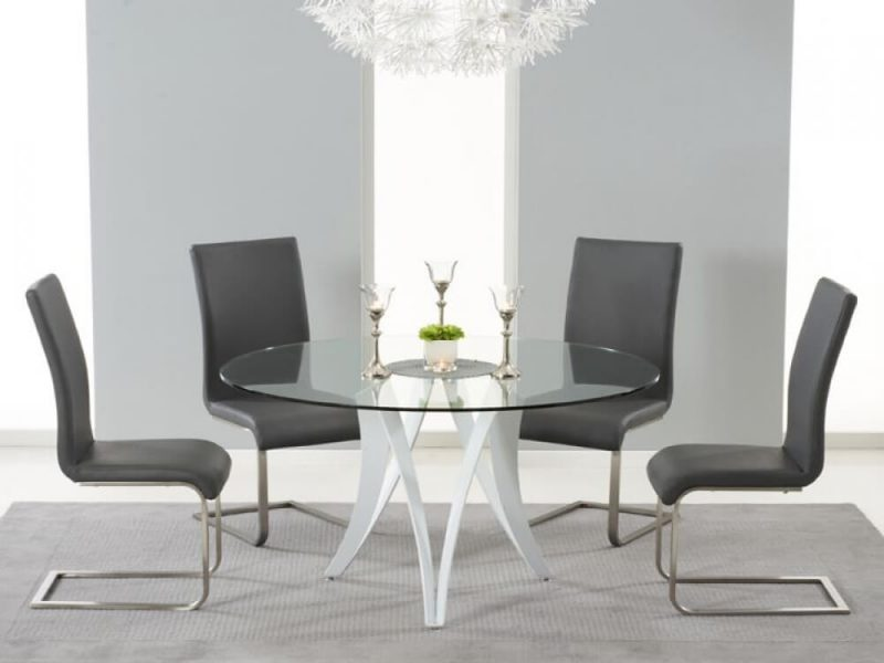 Berlin Round 4 Seater Dining Set Grey