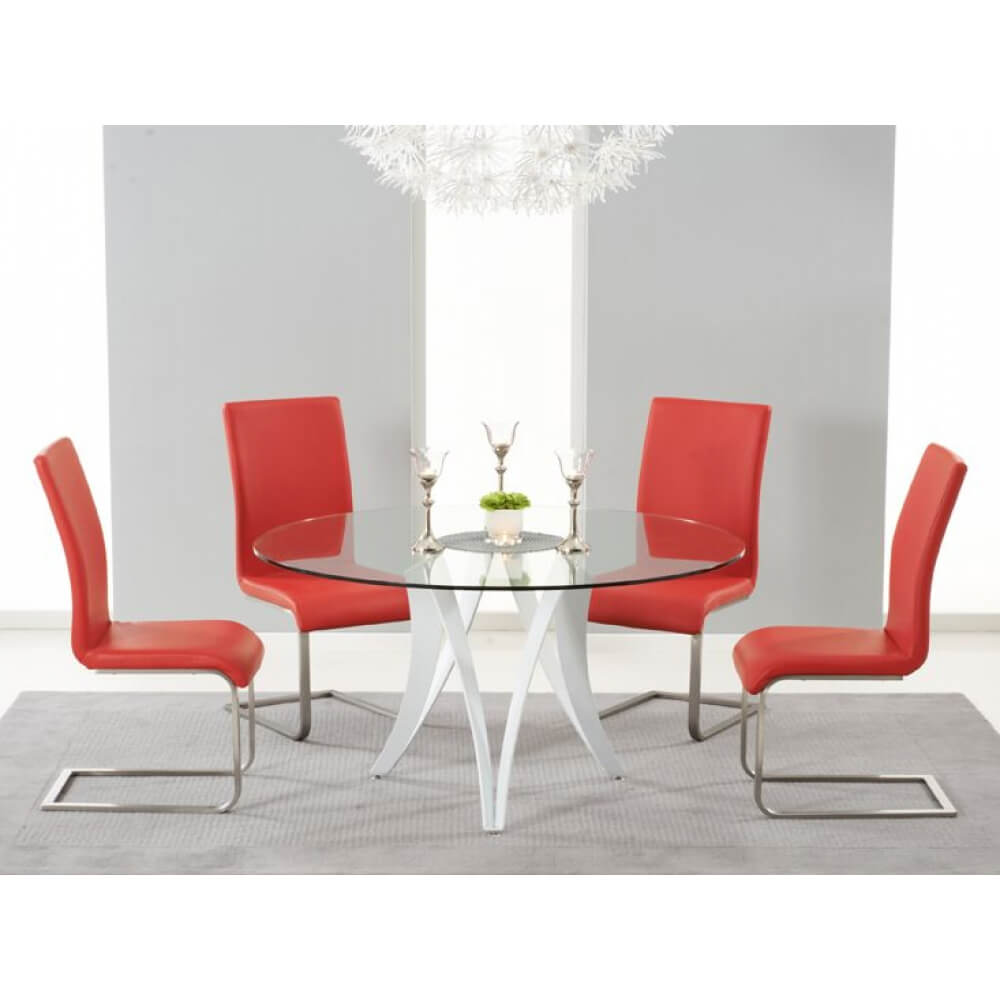 Berlin Round 4 Seater Dining Set Red