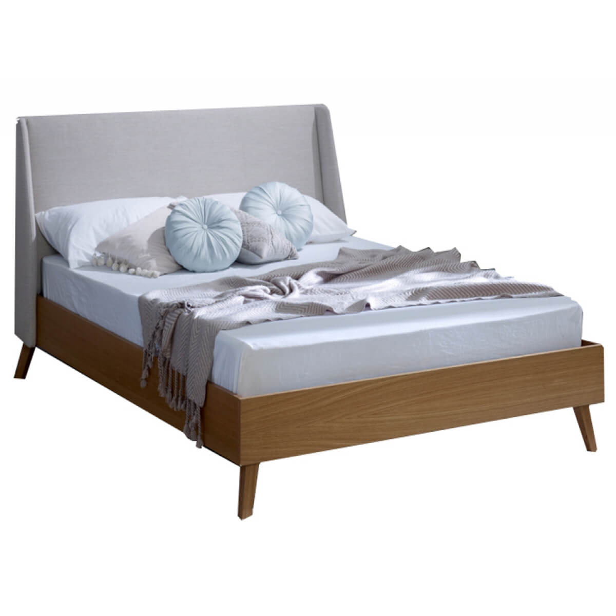 Bianca Scandinavian Bed Frame Natural Fabric & Solid Oak