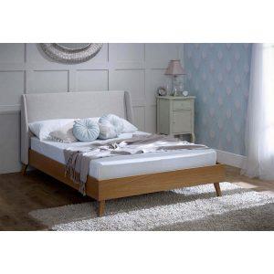 Bianca Scandinavian Bed Frame Natural Fabric & Solid Oak 5