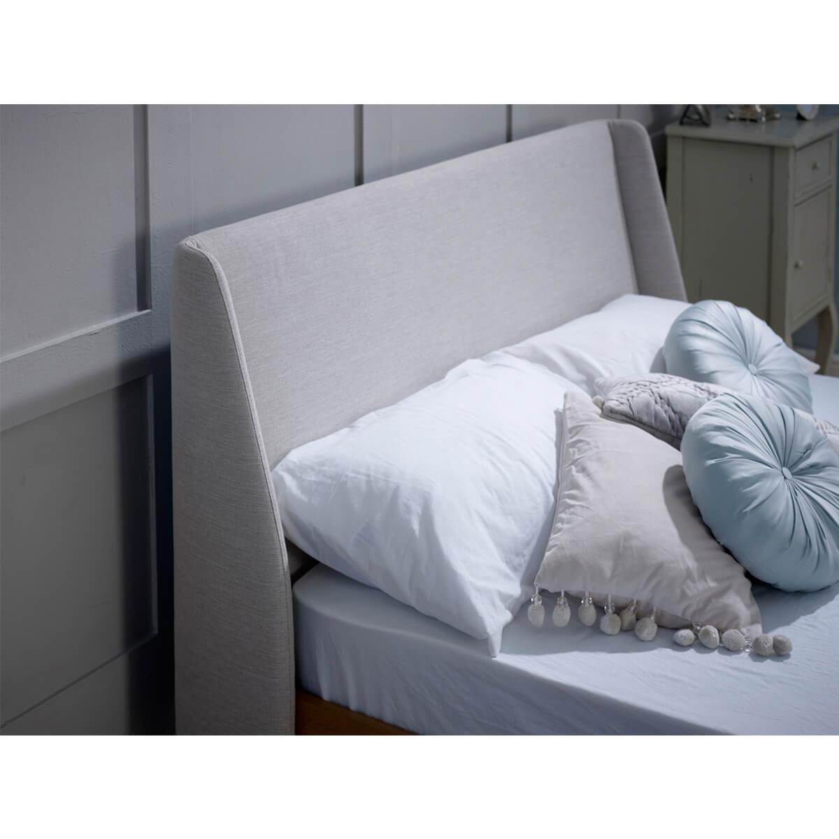 Bianca Scandinavian Bed Frame Natural Fabric & Solid Oak 2