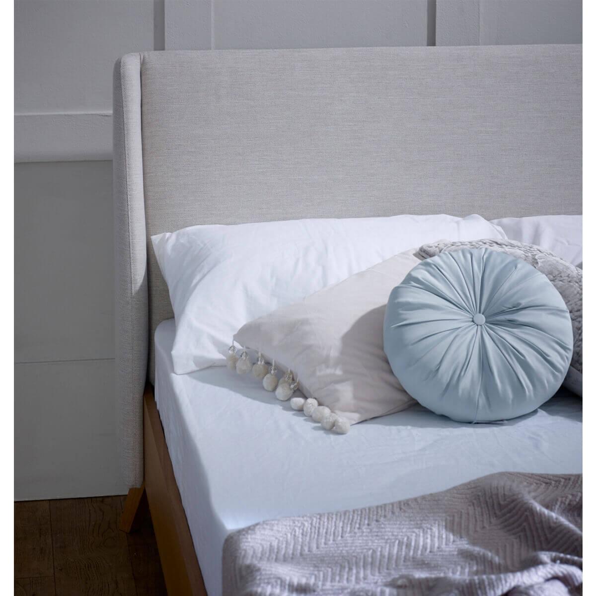 Bianca Scandinavian Bed Frame Natural Fabric & Solid Oak 3
