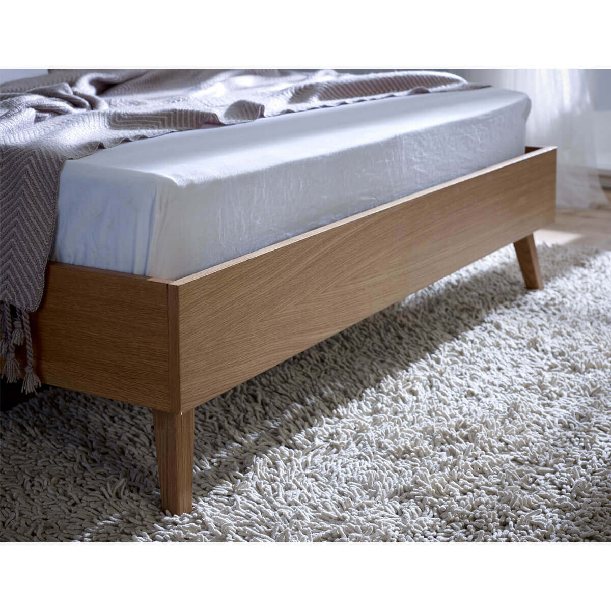 Bianca Scandinavian Bed Frame Natural Fabric & Solid Oak 4