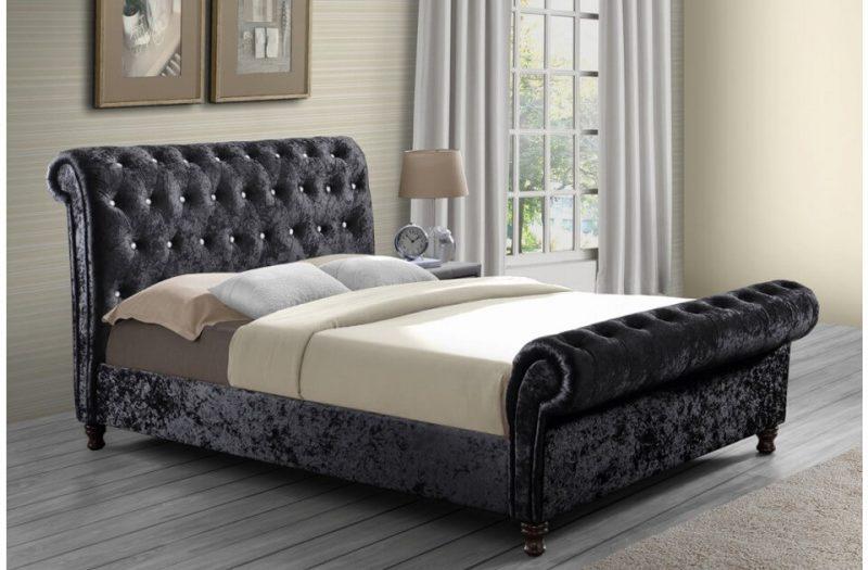 Bordeaux Bed Frame Crushed Black Velvet 2
