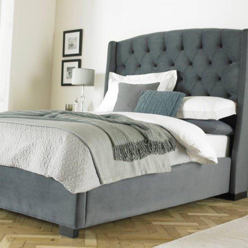 Buckingham Tall Hedboard Bed Frame Fabric Grey 2