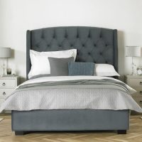 Buckingham Tall Hedboard Bed Frame Fabric Grey