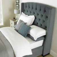 Buckingham Tall Hedboard Bed Frame Fabric Grey 3