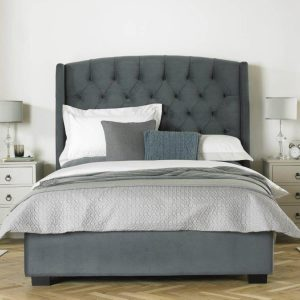 Buckingham Tall Hedboard Bed Frame Fabric Grey