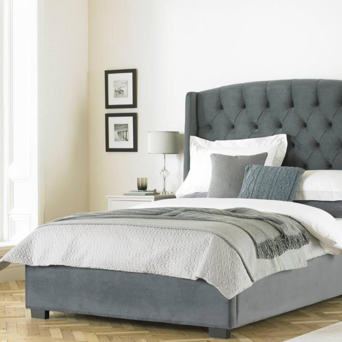 buckingham tall wing headboard grey velvet bed frame fads. Black Bedroom Furniture Sets. Home Design Ideas