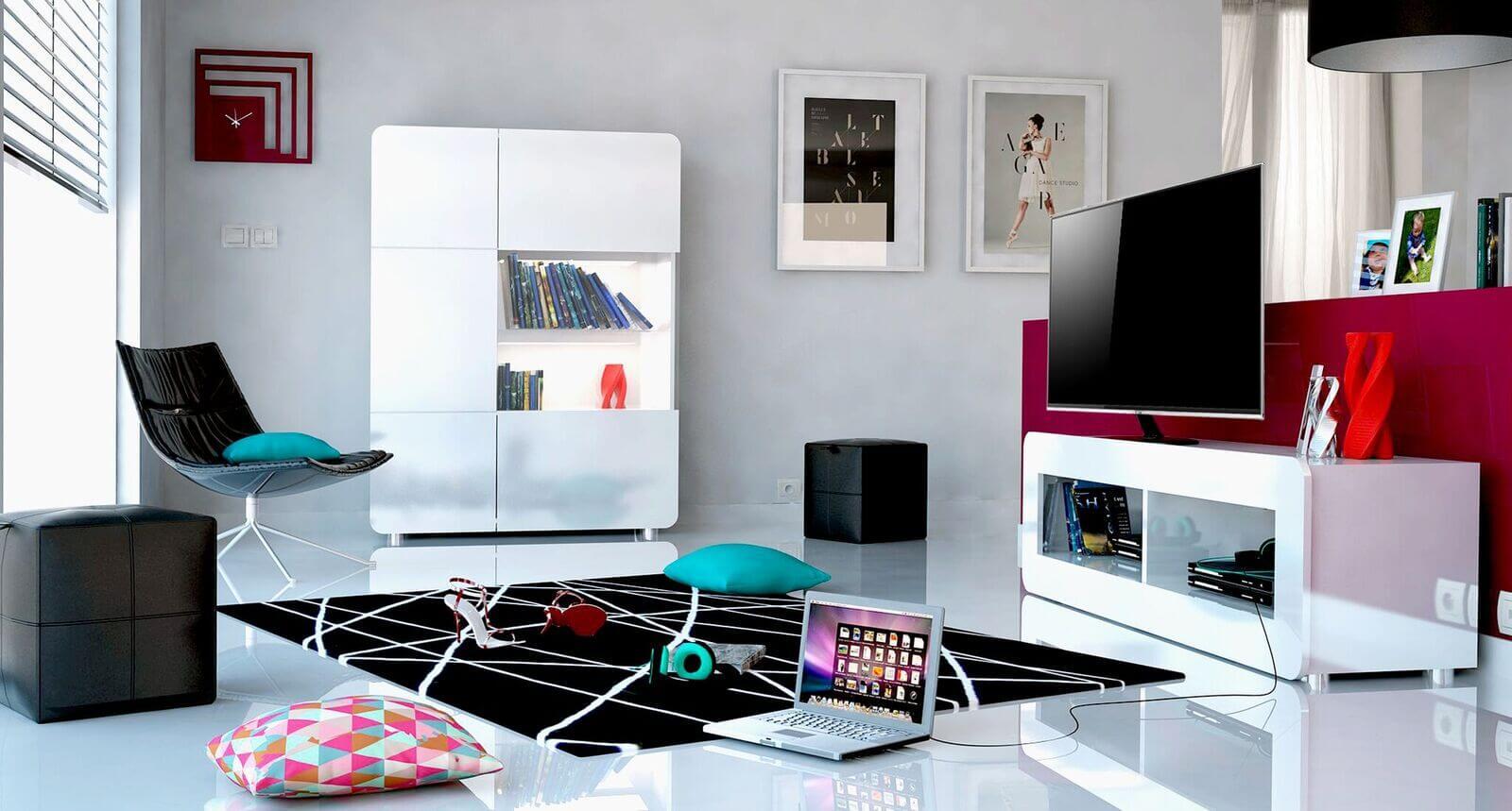 Bump White High Gloss Display Cabinet 4