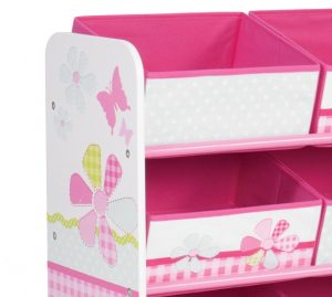 Butterfly Kids Storage Unit Pink & White 2