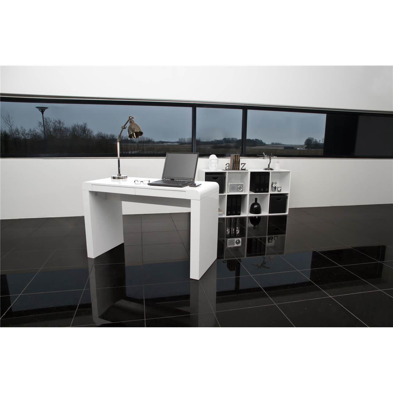 Cana White High Gloss Desk 1