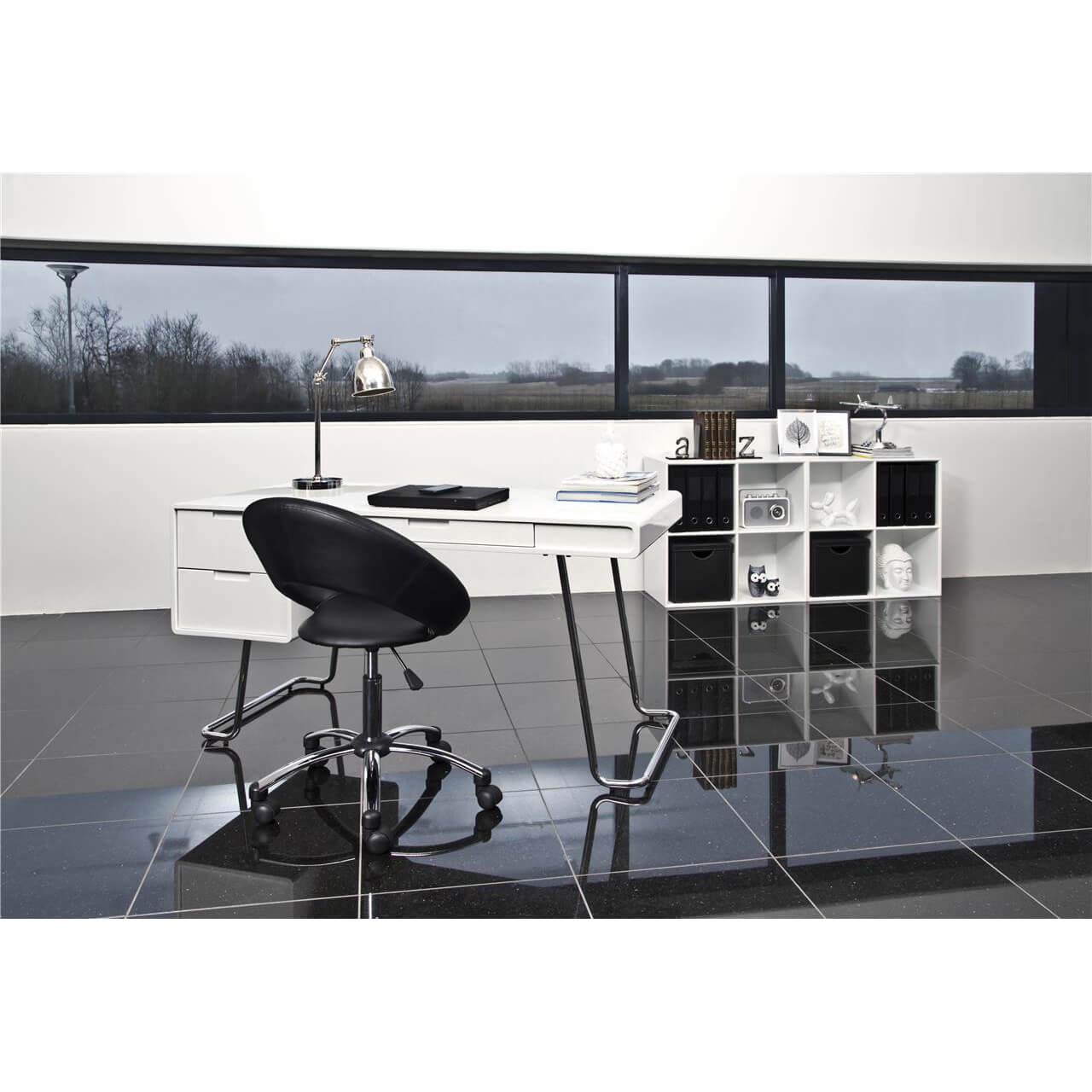 Caspian Black Desk Chair Faux Leather 3