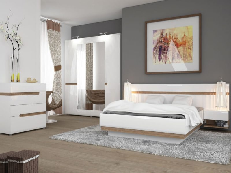 Chelsea EU Bed Frame White Gloss & Truffle Oak 4