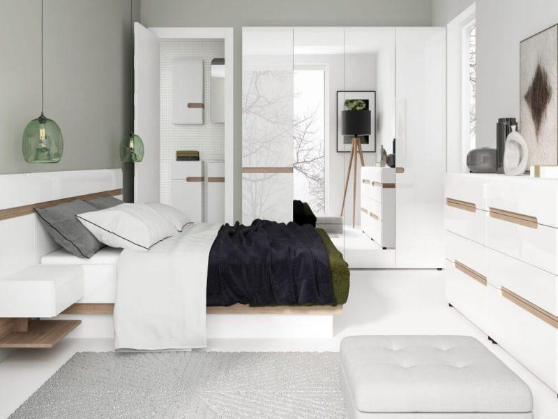 Chelsea EU Bed Frame White Gloss & Truffle Oak 3