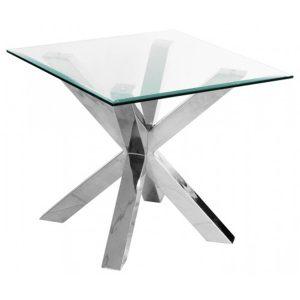 Criss Cross Lamp Table Beveled Glass & Chrome