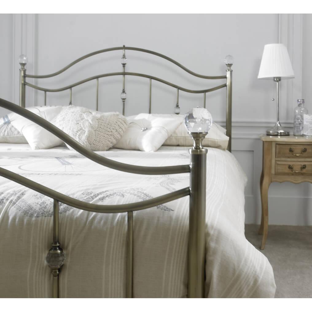 Cygnus Metal Bed Frame With Crystal Finials Metal Beds