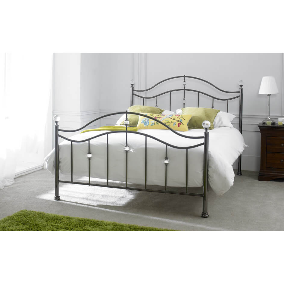 cygnus metal bed frame with crystal finials metal beds fads. Black Bedroom Furniture Sets. Home Design Ideas
