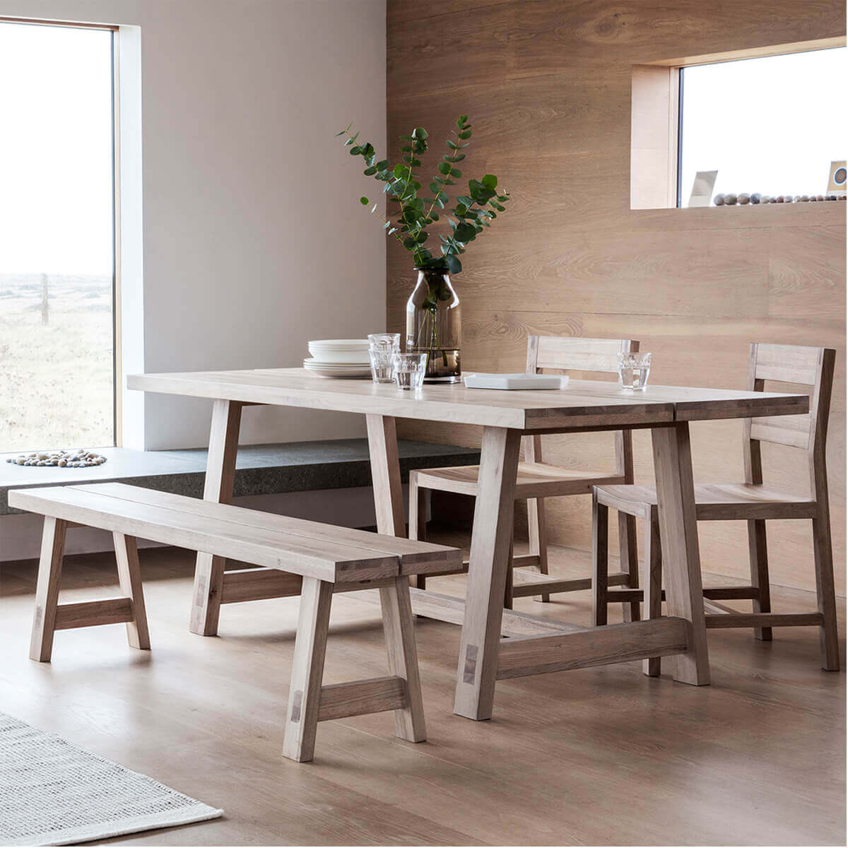 Narrative solid oak Dining Set With Bench