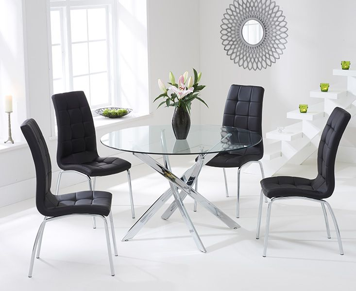 Daytona Glass Dining Table Set with 4 Chairs (Chair Colour: Black)