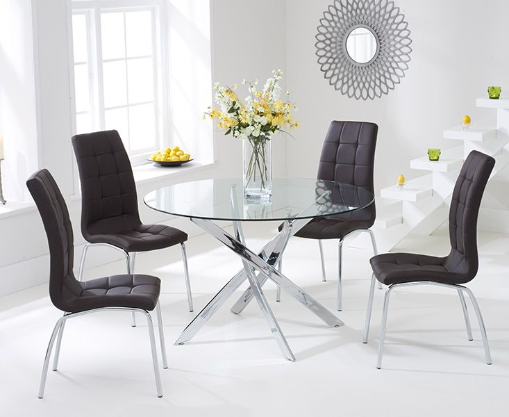 Daytona Glass Dining Table Set with 4 Chairs (Chair Colour: Brown)