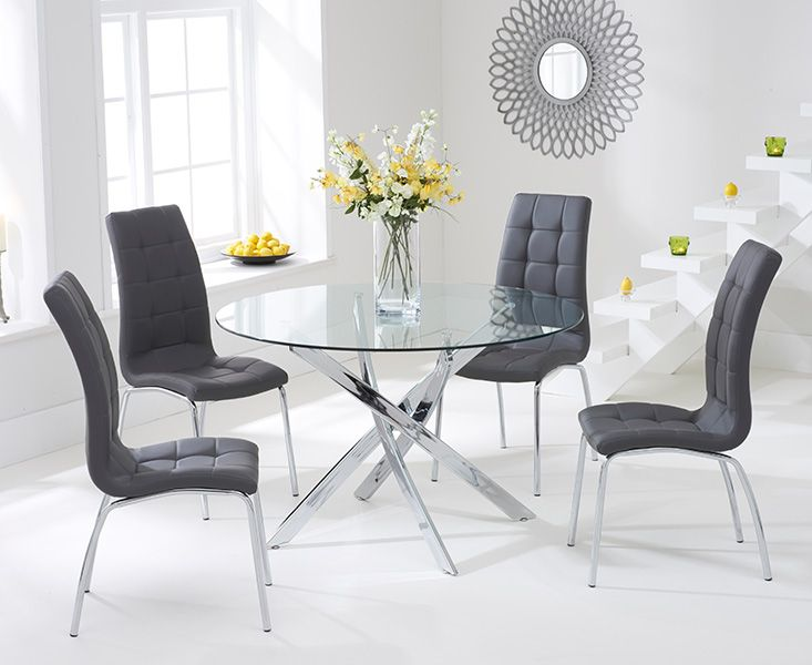 Daytona Glass Dining Table Set with 4 Chairs (Chair Colour: Charcoal)