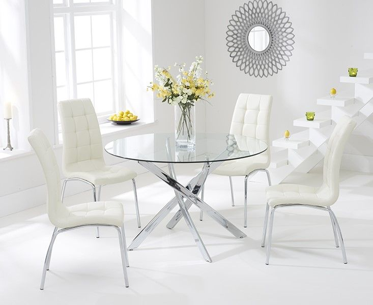 Daytona Glass Dining Table Set with 4 Chairs (Chair Colour: Cream)
