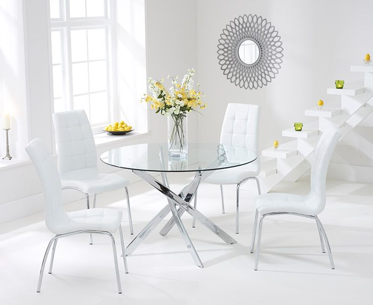 Daytona Glass Dining Table Set with 4 Chairs (Chair Colour: White)