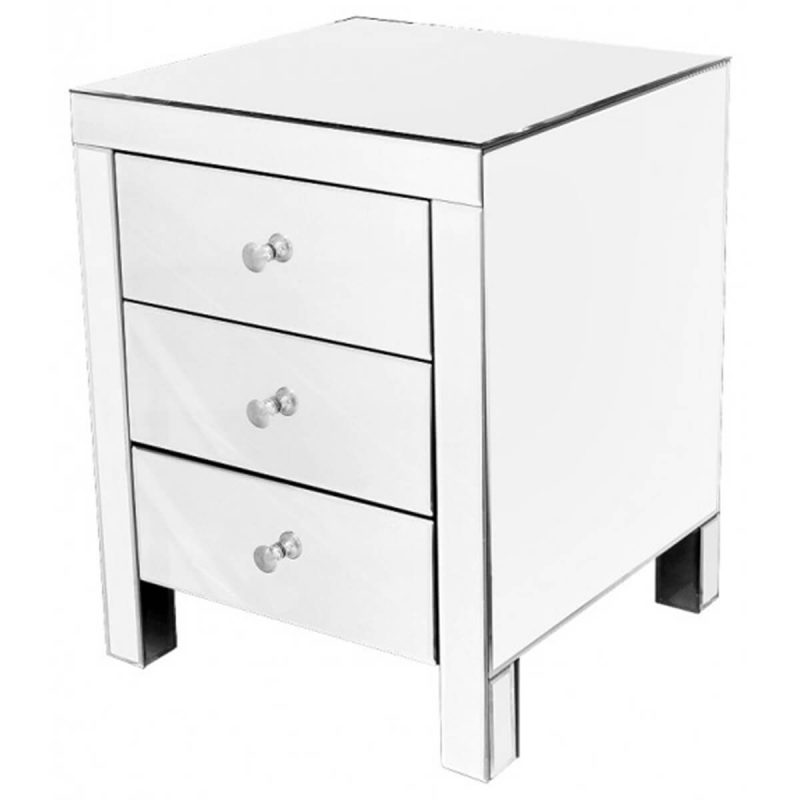 Digne Mirrored 3 Drawer Bedside Table
