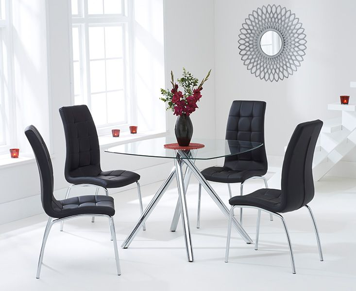 Elba Glass Dining Table with 4 Coloured Chairs (Chair Colour: Black)