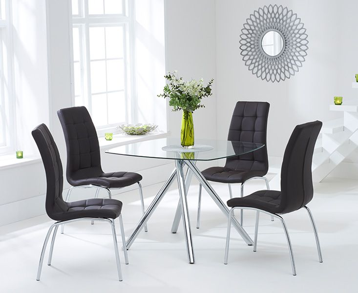 Elba Glass Dining Table with 4 Coloured Chairs (Chair Colour: Brown)