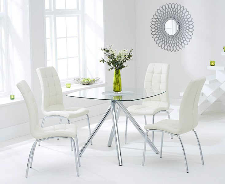 Elba Glass Dining Table with 4 Coloured Chairs (Chair Colour: Cream)