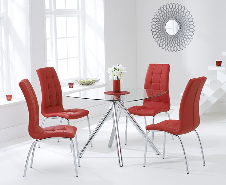Elba Glass Dining Table with 4 Coloured Chairs (Chair Colour: Red)