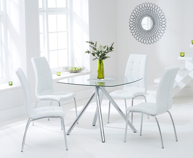 Elba Glass Dining Table with 4 Coloured Chairs (Chair Colour: White)