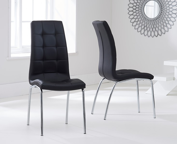 Elba Dining Set 4 Seater Clear Glass & Coloured Chairs Black 2