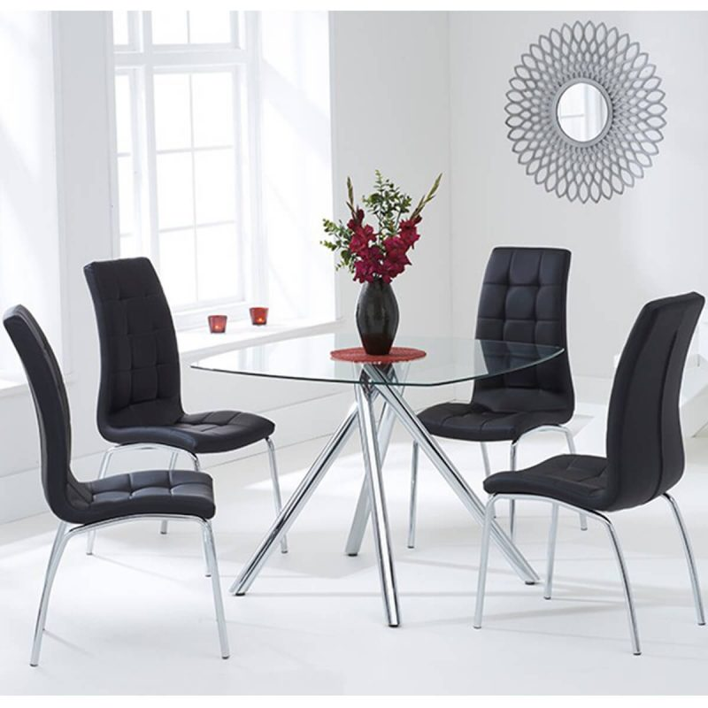 Elba Dining Set 4 Seater Clear Glass & Coloured Chairs Black