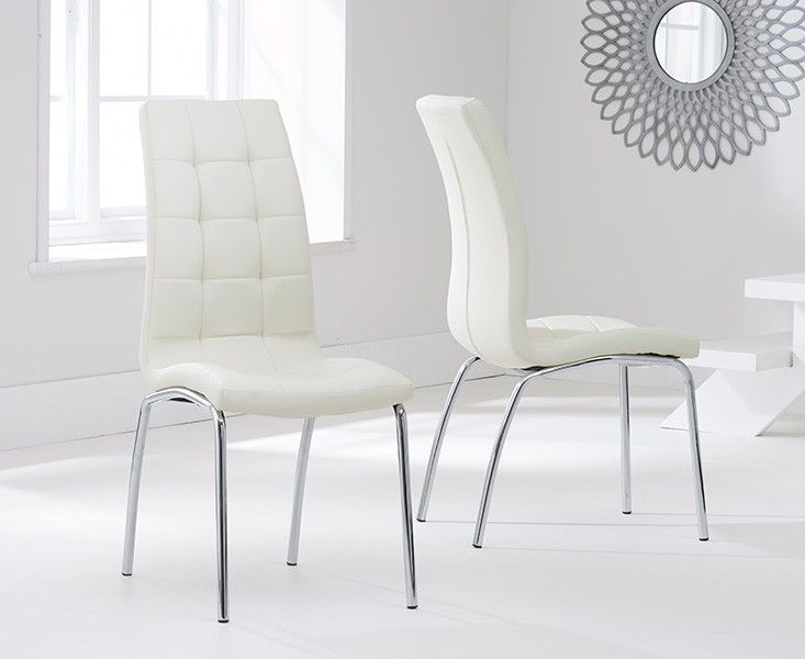 Elba Dining Set 4 Seater Clear Glass & Coloured Chairs Cream 2