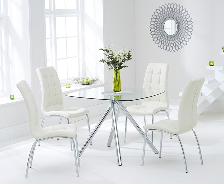 Elba Dining Set 4 Seater Clear Glass & Coloured Chairs Cream