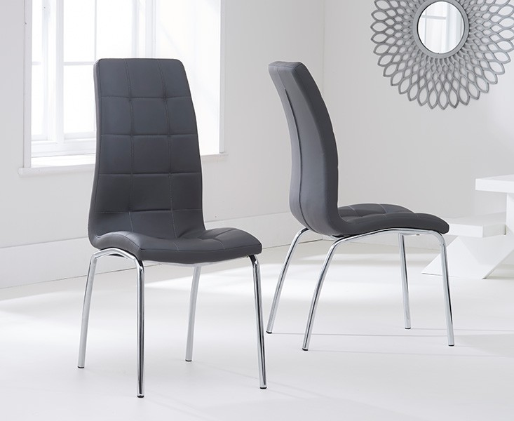Elba Dining Set 4 Seater Clear Glass & Coloured Chairs Grey 2