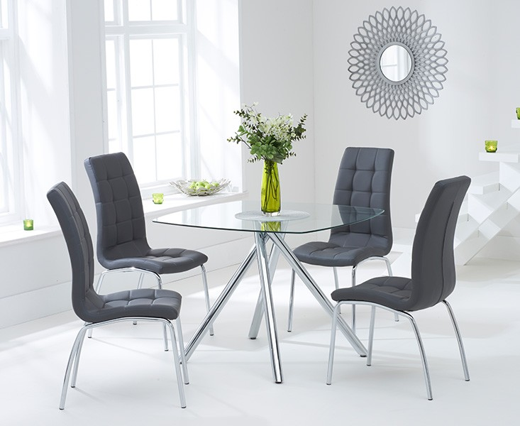 Elba Dining Set 4 Seater Clear Glass & Coloured Chairs Grey