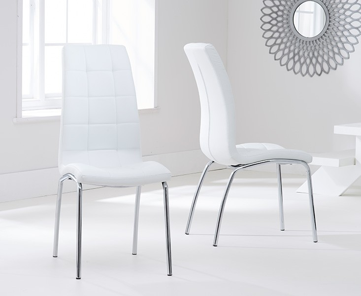 Elba Dining Set 4 Seater Clear Glass & Coloured Chairs Ivory 2