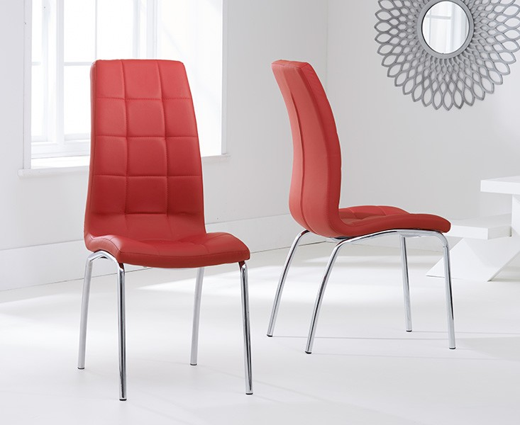 Elba Dining Set 4 Seater Clear Glass & Coloured Chairs Red 2