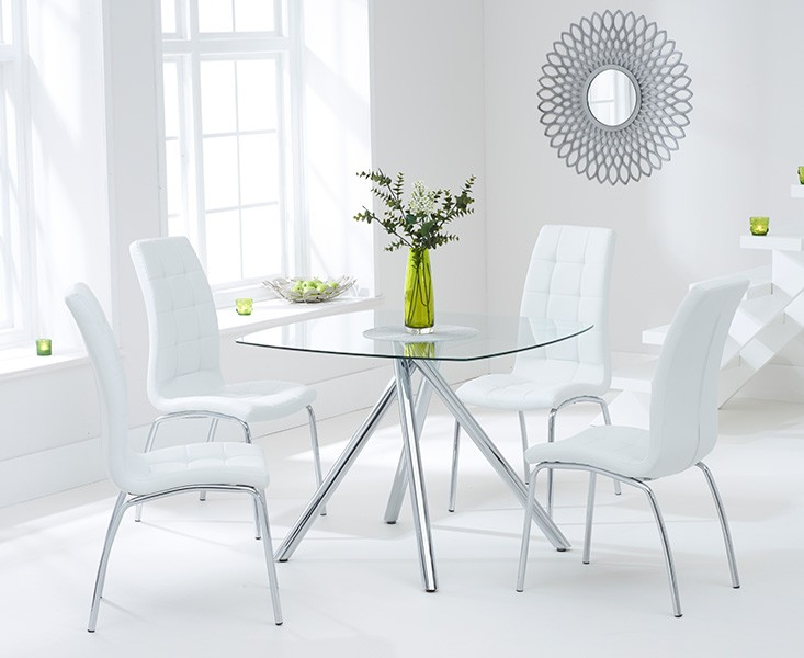 Elba Dining Set 4 Seater Clear Glass & Coloured Chairs Ivory